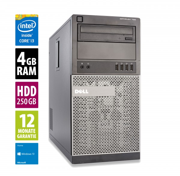 Dell OptiPlex 790 MT - Core i3-2120 @ 3,3 GHz - 4GB RAM - 250GB HDD - DVD-ROM - Win10Home