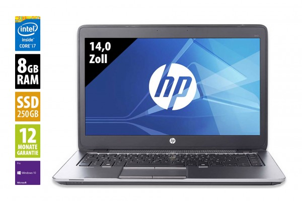HP EliteBook 840 G3 - 14,0 Zoll - Core i7-6500U @ 2,5 GHz - 8GB RAM - 250GB SSD - WXGA (1366x786) - Win10Pro B