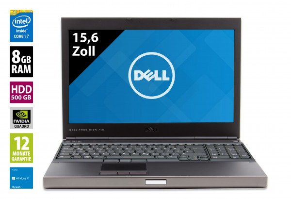 Dell Precision M4700 - 15,6 Zoll - Core i7-3740M @ 2,7 GHz - 8GB RAM - 500GB HDD - DVD-RW - FHD (1920x1080) - Quadro K2000M - Win10Home