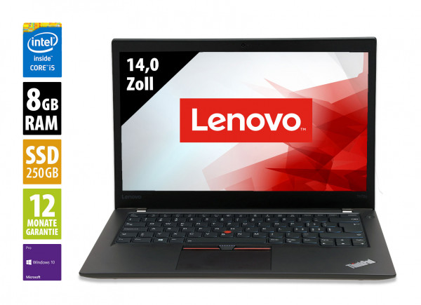 Lenovo ThinkPad T470s - 14,0 Zoll - Core i5-7300U @ 2,6 GHz - 8GB RAM - 250GB SSD - FHD (1920x1080) - Webcam - Win10Pro A