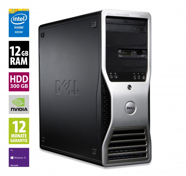 Dell Precision T3500 MT - Xeon W3565 @ 3,2 GHz - 12GB RAM - 300GB HDD - DVD-RW - Win10 Pro