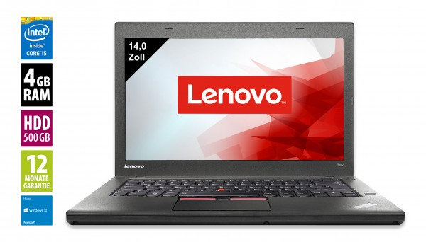Lenovo ThinkPad T450 14 Zoll - Core i5-5300U @ 2,3 GHz - 4GB RAM - 500GB HDD - FHD (1920x1080) - Win10Home