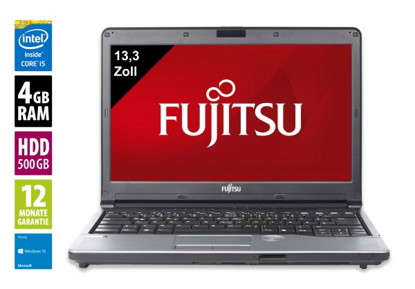 Fujitsu Lifebook S762 - 13,3 Zoll - Core i5-3320M @ 2,6GHz - 4GB RAM - 500GB HDD - DVD-RW - WXGA (1366x768) - Win10Home
