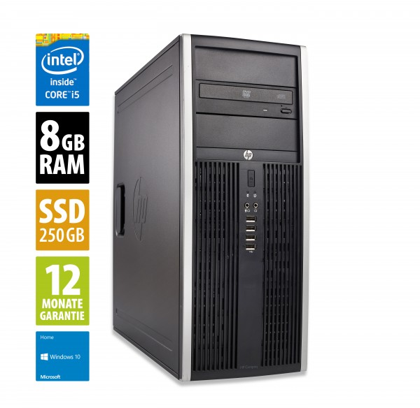 HP Elite 8300 CMT - Core i5-3570 @ 3,4 GHz - 8GB RAM - 250GB SSD - DVD-RW - Win10Home
