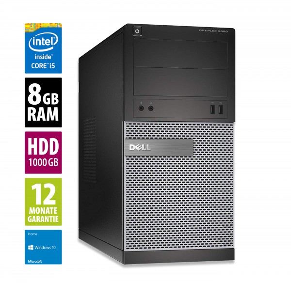 Dell Optiplex 3020 MT - Core i5-4590 @ 3,3 GHz - 8GB RAM - 1000GB HDD - DVD-RW - Win10Home
