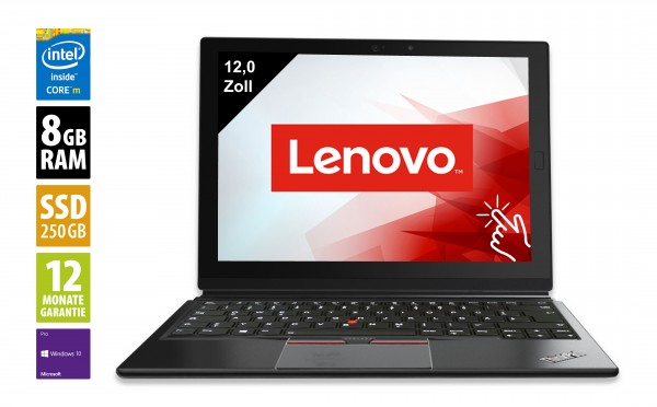 Lenovo ThinkPad X1 Tablet - 12,0 Zoll - Core m5-6Y57 @ 1,1 GHz - 8GB RAM - 250GB SSD - FHD+ (2160x1440) - Touch - Win10Pro