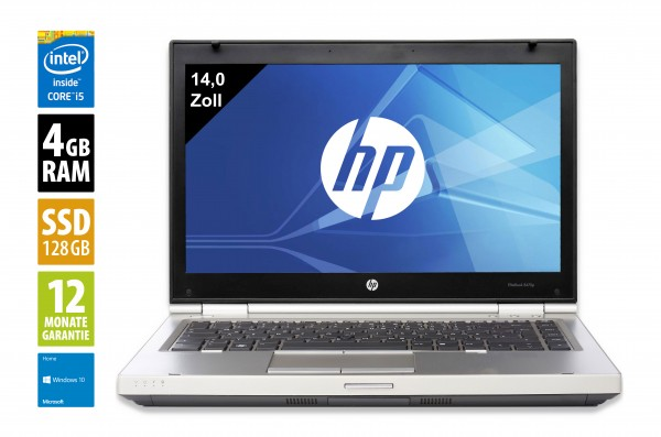HP Elitebook 8470p - 14,0 Zoll - Core i5-3210M @ 2,5 GHz - 4GB RAM - 128GB SSD - DVD-RW - WXGA (1366x768) - Win10Home