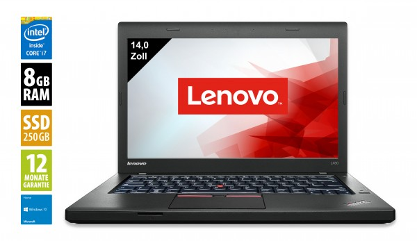 Lenovo ThinkPad L450 - 14,0 Zoll - Core i5-5300U @ 2,3 GHz - 8GB RAM - 250GB SSD - WXGA (1366x768) - Win10Home