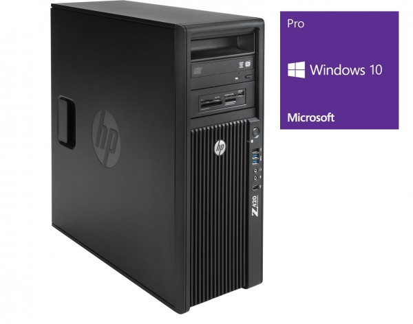 HP Workstation Z420 MT - Xeon E5-1620v2 @ 3,7 GHz - 16GB RAM - 256GB HDD - DVD-ROM - Quadro K4000 - Win10Pro