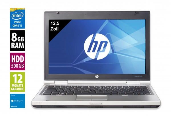 HP Elitebook 2560p - 12,5 Zoll - Core i5-2520M @ 2,5 GHz - 8GB RAM - 500GB HDD - DVD-RW - WXGA (1366x768) - Win10 Home