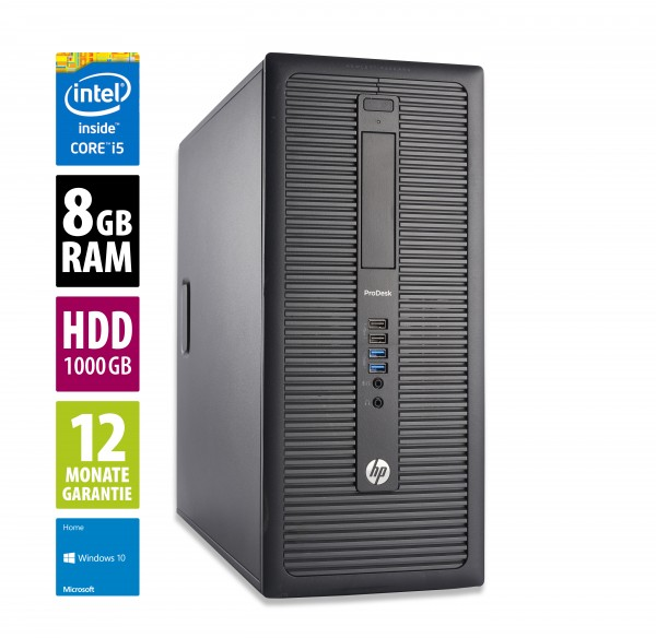 HP ProDesk 600 G1 MT - Core i5-4570 @ 3,2 GHz - 8GB RAM - 1000GB HDD - Win10Home