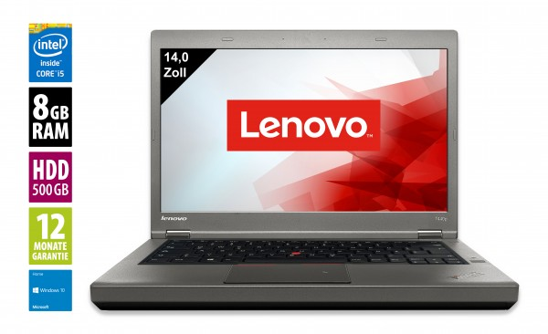 Lenovo ThinkPad T440p - 14,0 Zoll - Core i5-4210M @ 2,6 GHz - 8GB RAM - 500GB HDD - DVD-RW - WXGA (1366x768) - Win10Home