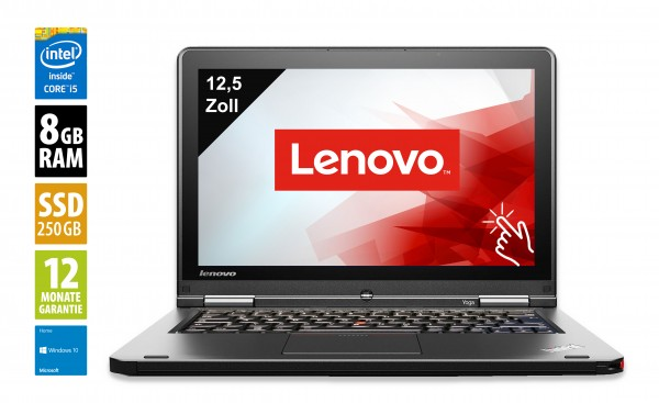 Lenovo ThinkPad Yoga 12 - 12,5 Zoll - Core i5-5300U @ 2,3 GHz - 8GB RAM - 250GB SSD - FHD (1920x1080) - Touch - Win10Home