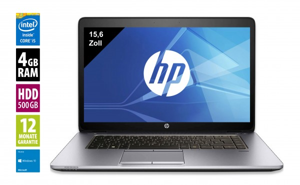 HP Elitebook 850 G2 - 15,6 Zoll - Core i5-5200U @ 2,2 GHz - 4GB RAM - 500 GB HDD - FHD (1920x1080) - Win10 Home
