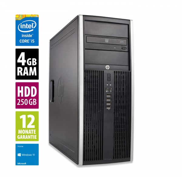 HP Elite 8200 CMT - Core i5-2500 @ 3,3 GHz - 4GB RAM - 250GB HDD - DVD-ROM - Win10 Home
