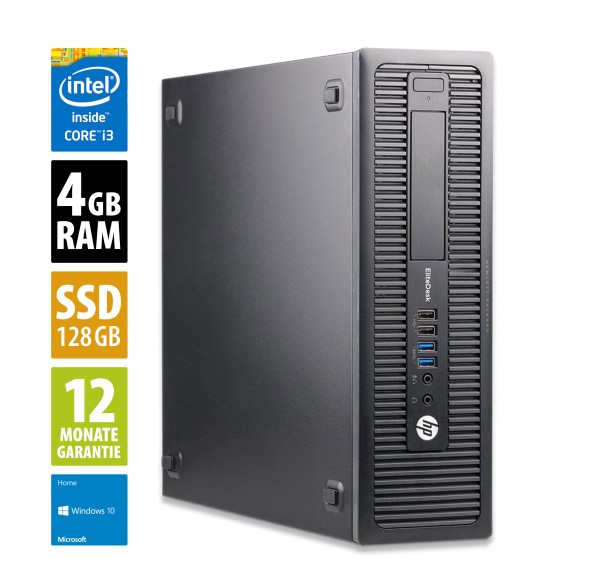 HP EliteDesk 800 G1 SFF - Core i3-4160 @ 3,6 GHz - 4GB RAM - 120GB SSD - DVD-ROM - Win10Home