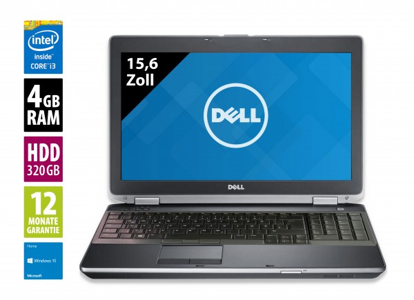 Dell Latitude E6530 - 15,6 Zoll - Core i3-3120M @ 2,5 GHz - 4GB RAM - 320GB HDD - DVD-RW - WXGA (1366x768) - Win10Home