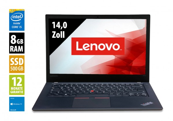 Lenovo ThinkPad T470 - 14,0 Zoll - Core i5-7300U @ 2,6 GHz - 8GB RAM - 500GB SSD - FHD (1920x1080) - Webcam - Win10Home B