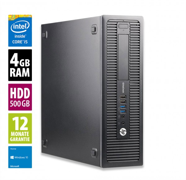 HP EliteDesk 800 G1 SFF - Core i5-4570 @ 3,2 GHz - 4GB RAM - 500GB HDD - Win10Home
