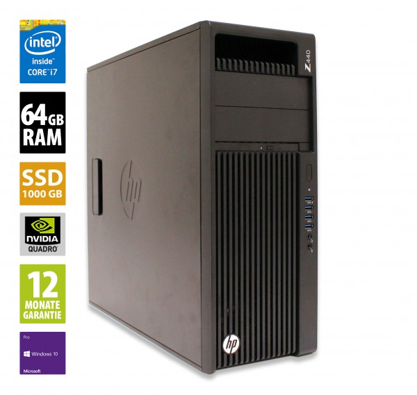 HP Workstation Z440 MT - Xeon E5-1620 v4 @ 3,5 GHz - 64GB RAM - 1000GB SSD - DVD-ROM - Nvidia Quadro K2200 - Win10Pro