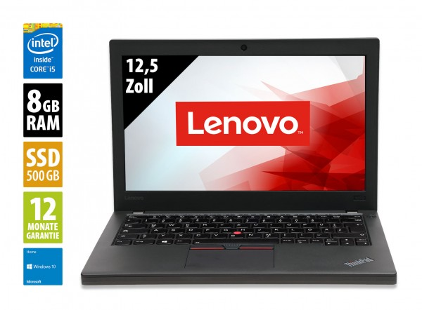 Lenovo ThinkPad X270 - 12,5 Zoll - Core i5-7300U @ 2,6 GHz - 8GB RAM - 500GB SSD - FHD (1920x1080) - Webcam - Win10Home A
