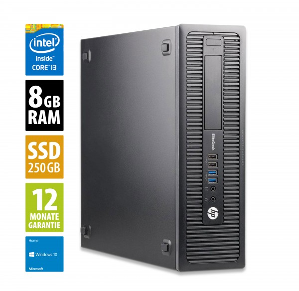 HP EliteDesk 800 G2 SFF - Core i3-6100 @ 3,7 GHz - 8GB RAM - 250GB SSD - Win10Home