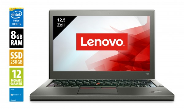 Lenovo ThinkPad X250 - 12,5 Zoll - Core i5-5300U @ 2,3 GHz - 8GB RAM - 240GB SSD - WXGA (1366x768) - Win10Home