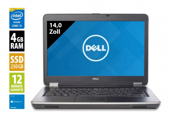 Dell Latitude E6440 - 14,0 Zoll - Core i5-4300M @ 2,6 GHz - 4GB RAM - 250GB SSD - DVD-RW - WSXGA (1366x768) - Win10Home