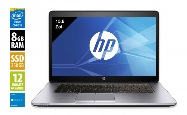 HP Elitebook 850 G2 - 15,6 Zoll - Core i5-5300U @ 2,3 GHz - 8GB RAM - 256GB SSD - FHD (1920x1080) - Win10 Home