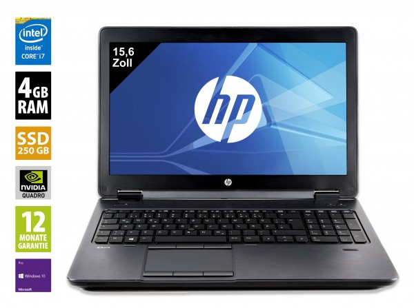 HP ZBook 15 G2 - 15,6 Zoll - Core i7 - 4810MQ CPU @ 2,8 GHz - 4GB RAM - 256 GB SSD - DVD-RW - FHD (1920x1080) - Win10Pro