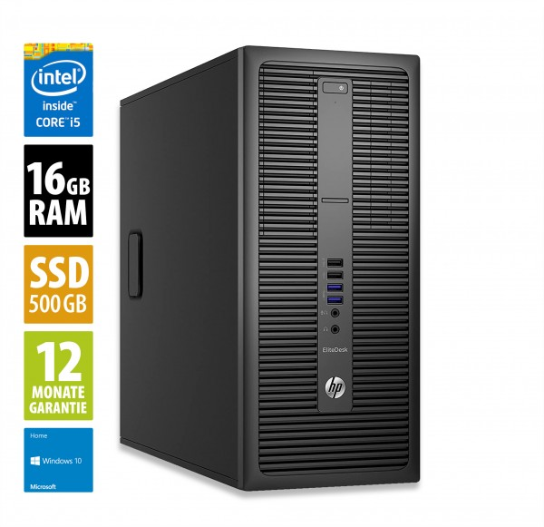 HP EliteDesk 800 G2 TWR - Core i5-6500 @ 3,2 GHz - 16GB RAM - 500GB SSD - Win10Home
