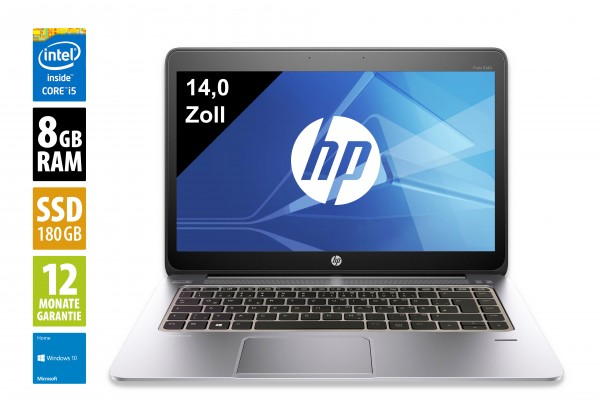 HP Elitebook Folio 1040 G2 - 14 Zoll - Core i5-5300U @ 2,30GHz - 8GB RAM - 180GB SSD - WXGA (1600x900) - Win10 Home